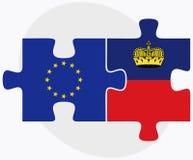 European Union and Liechtenstein Flags in puzzle Stock Photo