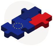 European Union and Liechtenstein Flags in puzzle Royalty Free Stock Photo