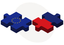 European Union and Liechtenstein Flags in puzzle Stock Photography
