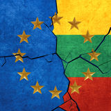 European union and Lithuania flags. Breaking apart Stock Photography