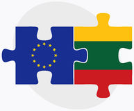 European Union and Lithuania Flags in puzzle Stock Images