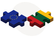 European Union and Lithuania Flags in puzzle Royalty Free Stock Photography
