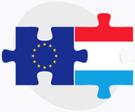 European Union and Luxembourg Flags in puzzle Royalty Free Stock Photography