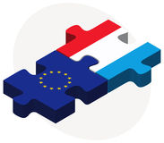 European Union and Luxembourg Flags in puzzle Royalty Free Stock Image