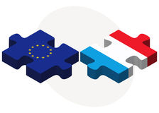 European Union and Luxembourg Flags in puzzle Stock Images