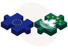 European Union and Macau Flags in puzzle Stock Photos