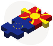 European Union and Macedonia Flags in puzzle Stock Images
