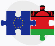 European Union and Malawi Flags in puzzle Stock Photos