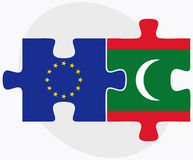 European Union and Maldives Flags in puzzle Stock Image