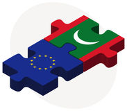European Union and Maldives Flags in puzzle Stock Images