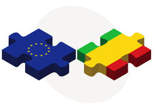 European Union and Mali Flags in puzzle Royalty Free Stock Images