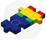 European Union and Mali Flags in puzzle Stock Photography