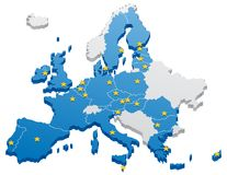 European Union Map. Map of the European Union. The capitals and the borders can be easily removed Royalty Free Stock Photos