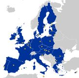 European Union Map. Map of European Union with 27 member states. Each member state is filled with blue, each capital is displayed as a yellow star. Other states Royalty Free Stock Images