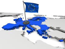European Union on map. 3D map of European Union with flag and EU countries highlighted in blue. Elements of this image furnished by NASA Stock Image