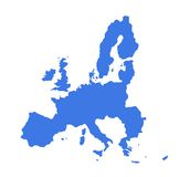 European Union map. Outline map of countries of European Economic Union, in blue, isolated on white background Stock Image