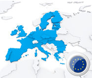 European union on map of Europe. Highlighted European union on map of europe with national flag Royalty Free Stock Photography