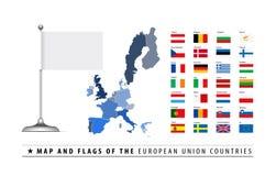 European Union Map and Flag Stock Photo