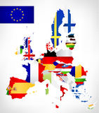 European Union map with flags Royalty Free Stock Image