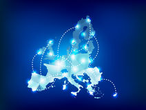 European Union map polygonal with spot lights plac. Es sample Stock Photography