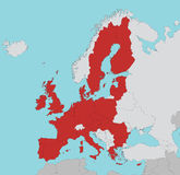 European Union map in red Royalty Free Stock Photography