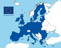 European union map. Vector file, illustration all the country of the european union and flag Royalty Free Stock Photos