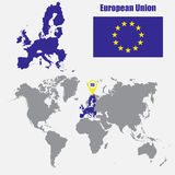 European Union map on a world map with flag and map pointer. Vector illustration Stock Photo