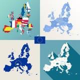 European union maps vector set Royalty Free Stock Photography