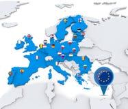 European union. Member states on map of Europe Royalty Free Stock Image