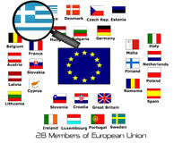 European union 28 members with magnifying. Greece Stock Image