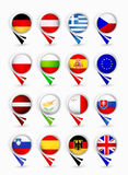 European Union members map pointers with flags.Part 2 Stock Image