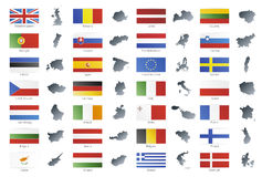 European union modern style flags with maps. Vector illustration of button flags of the 27 members of the European Union as of 2008 plus NATO and the EU. Coupled Royalty Free Stock Image