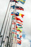 European Union Parliament all countries flags. European country flags in Brussels on European commission site - European Union Parliament, tilt shift focus royalty free stock image