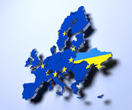 European Union political Map 3d rendered image Royalty Free Stock Image