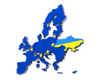 European Union political Map 3d rendered image on white Royalty Free Stock Images