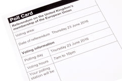 European Union Referendum Polling Card Royalty Free Stock Image