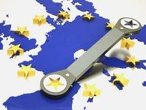 European union repaired using wrench. European union logo repaired using wrench Royalty Free Stock Photos