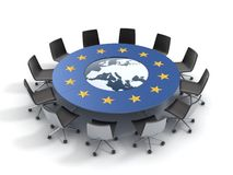 European union round table. EU meeting, conference, chamber, assembly 3d concept Royalty Free Stock Photos