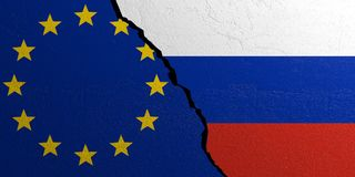 European Union and Russia flag, plastered wall background. 3d illustration Stock Image