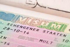 European Union Schengen countries visa in passport - close up shot Stock Photography