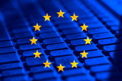 European Union series. European Union flag on computer keyboard Royalty Free Stock Photos