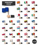 European union . Set of EU flag and membership . Hand of businessman hold and wave flag pole on white isolated background . Flat vector illustration