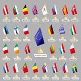 European Union. Set of flags of the participating countries of the European Union Royalty Free Stock Photos
