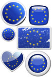 European Union - Set of stickers and buttons. Glossy and colorful stickers with reflection set Stock Photography