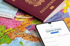 Free European Union Sets Out Virus Pass Plan To Allow Free Travel By Summer. Covid Or Coronavirus Vaccine Certificate Or Passport Royalty Free Stock Image - 213546196