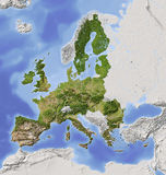 European Union, shaded relief map. European Union. Shaded relief map with  major urban areas. Territory outside the euopean union greyed out. Colored according Royalty Free Stock Images