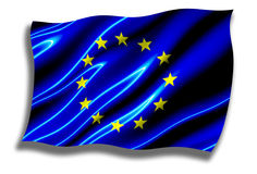 European Union Shiny Flag Waving Royalty Free Stock Images