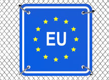 European Union Sign with Wired Fence Royalty Free Stock Photography
