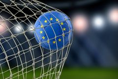 European Union soccerball in net. Image of European Union soccerball in net Stock Photos