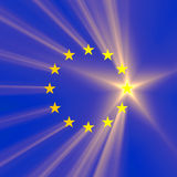 European Union star flag with light flare Royalty Free Stock Photography